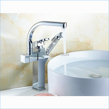 brass pull down basin mixer tap,Rotating hot and cold taps,Multifunctional kitchen faucet with spray gun,Free Shipping J15607(China)