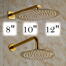 Free Shipping Ultrathin Stainless Steel Shower Head Wall Mounted Brass Shower Arm Bathroom Top Showerhead 8/10/12 Inch