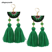 Bohemia Tassels Earrings For Women Beach Jewelry Ethnic Embroidery Long Dangle Drop Earrings Statement Brincos 2017(China)