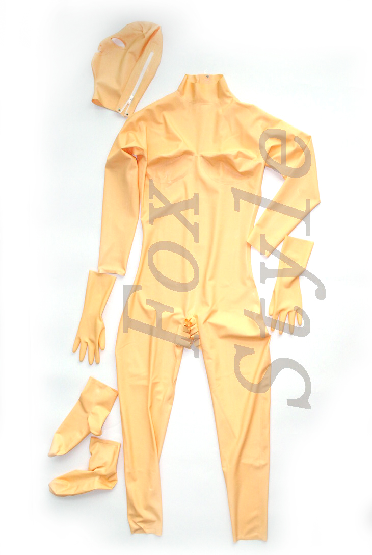Latex handmade catsuit hood flesh color sexy rubber 100% nature rubber outfit open crotch FOX SYTLE