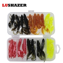 LUSHAZER 20pcs/lot soft baits fishing lures soft lure jig wobbler swivel rubber lure fishing worms soft shrimp bass box bait(China)
