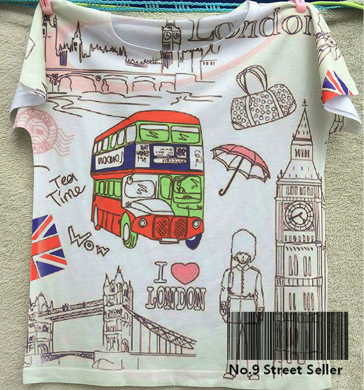 Track Ship+New Vintage Retro Cool Rock&Roll Punk T-shirt Top Tee I love Life in London Double Decker Bus Printed 0089(Hong Kong)