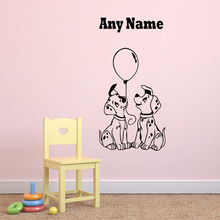 Two Little Dogs Vinyl Decal For Wall Custom Name Wall Stickers Living Room Decoration Accessories Removable Waterproof Decals