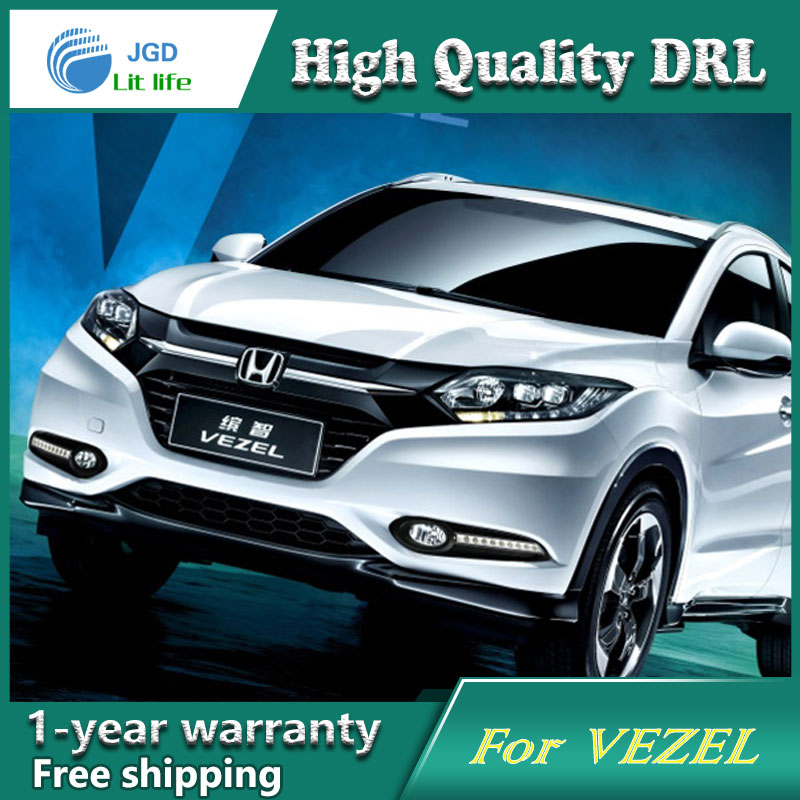 Free shipping ! 12V 6000k LED DRL Daytime running light case for Honda VEZEL HR-V 2015 2016 Fog lamp frame Fog light Car styling<br><br>Aliexpress