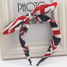 2016 New Cute Korean Women Girls Floral Flowers Fabric Bow Knot Hairband Bunny Rabbit Ears Hair Hoop Hair Band Accessories