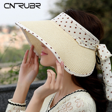 CN-RUBR Summer Visor Hat  Children Travel Necessary Sun Hat Empty Top Cap Volume Foldable Wide Brim Straw Beach Hat Gorro Chapeu