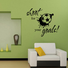 Shoot for Your Goals Quotes Wall Stickers Living Room Bedroom Adesivo De Parede DIY Removable Decoration Football Home Decor(China)