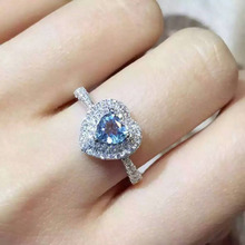 Natural blue topaz stone Ring Natural gemstone Ring S925 sterling silver trendy Elegant Romantic heart women party gift Jewelry