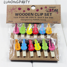 12PCS Music Guitar Fashion Wooden Clothespin Office Supplies Photo Craft Clips DIY Clothes Paper Peg Party Decoration(China)