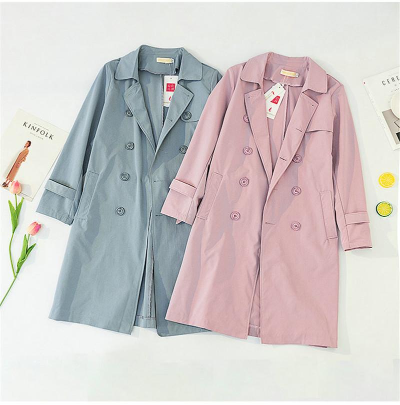 Plus size 5XL Trench Coat Women 19 Spring Autumn Coats Solid color Double-breasted Long Windbreaker Casual Tops Female N648 6