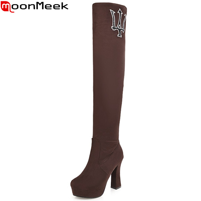 MoonMeek 2018 fashion autumn winter women boots black red brown platform ladies boots super high flock over the knee boots<br>