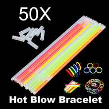 50Pcs Glow Sticks Bracelets Neon Light Glowing Party Decor Concert Camping Glow Sticks Favors Rally Raves(China)