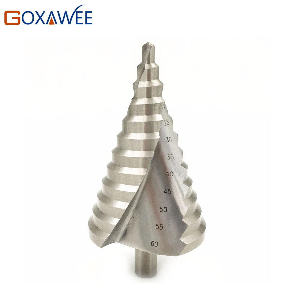 High Quality 6-60mm HSS4241 Spiral Groove Step Drill Bits Metric Unibit Reamer Steel Wood Metal Drilling Reaming Woodworking Bit<br>