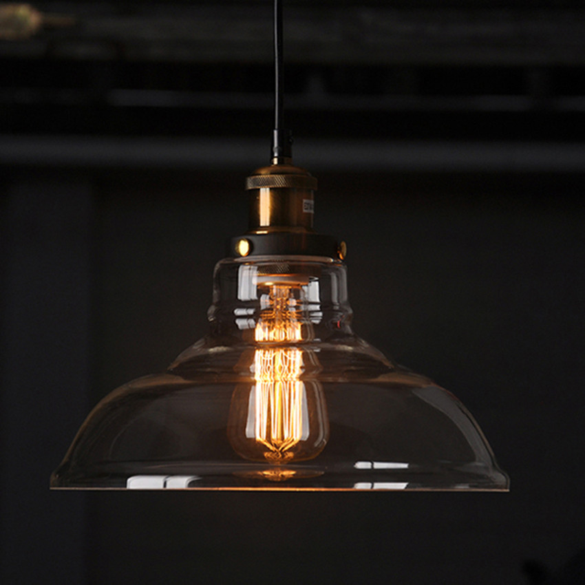 E27 American Country Retro Vintage Glass Lampshade Pendant Light Glass Lamp for Bar Clothes Shop Pendant Lamp lustres Fixtures<br>