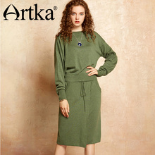 Artka 2017 Autumn& Winter Knit wear wool contained Pullover sweater and skirt two pieces suit YB11970Q(China)