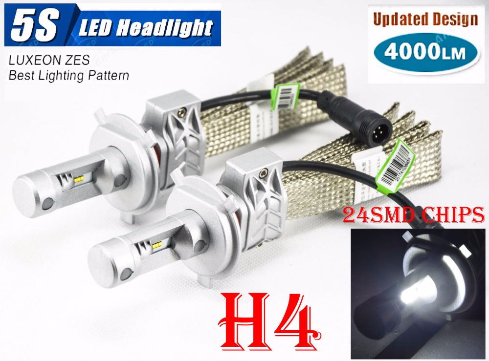 1 Set 50W 8000LM 5S LED Headlight H1 H3 H4 H7 H8 H9 H11 9005 9006 9012 H13 9004 9007 Fanless LUXEON ZES Chips White 6500K Lamps<br>