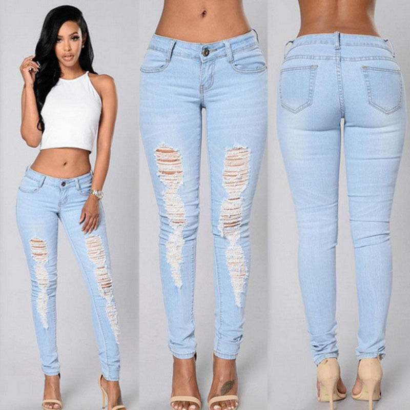 Women Denim Skinny Ripped Pants High Waist Stretchy Jeans Slim Pencil TrousersОдежда и ак�е��уары<br><br><br>Aliexpress