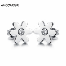 AMOURJOUX Fashion White Zircon Sweet Flower Stainless Steel Stud Earrings for Women Men Studs Female Male Earring