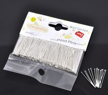 DoreenBeads 1 pack(300PCs)Well Sorted Silver color Head Pins 25x0.7mm(21 gauge)(China)