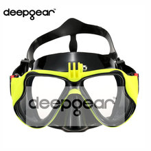 DEEPGEAR Professional scuba mask Gopro camera diving mask Yellow silicone scuba diving mask adult snorkel mask Top dive gears