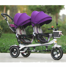 2016 new arrival good quality Twins child tricycle bike double seat tricycle trolley baby bike for 6monthes to 6 years