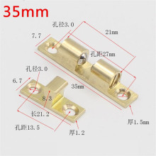 1pc 35mm Pure Copper Touch Beads Cabinet Door Catches Bronze Brass Color Double Ball Latch Clip Lock Hardware Accessories(China)