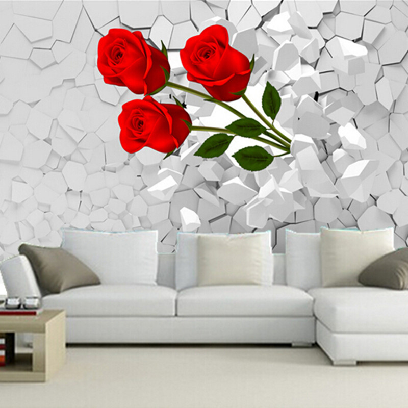Custom 3D mural,3d burst through the walls of red roses wallpaper, living room TV wall Bedroom Sofa backdrop wallpaper<br>