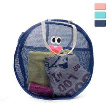 Brand New Creative Round Mesh Travel Pouch Cute Cartoon Eye Embroidered Clothes Bra Cosmetic Organizer Storage Bag(China)