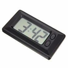 LCD Digital Clock Desk Date Time Ultra Thin Car Dashboard Digital Calendar Clock for Car Motorcycle Accessory(China)