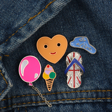 Fashion Cute Mini Heart Smiley Ice Cream Slipper Balloon Brooches Cartoon Enamel Pin Metal Brooch Jacket Badge Pins Button(China)