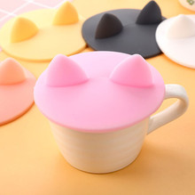 Cutr Beauty Cat Ear Style Silicone Leakproof Coffee Mug Airtight Sealed Cup Cover cup cover(China)
