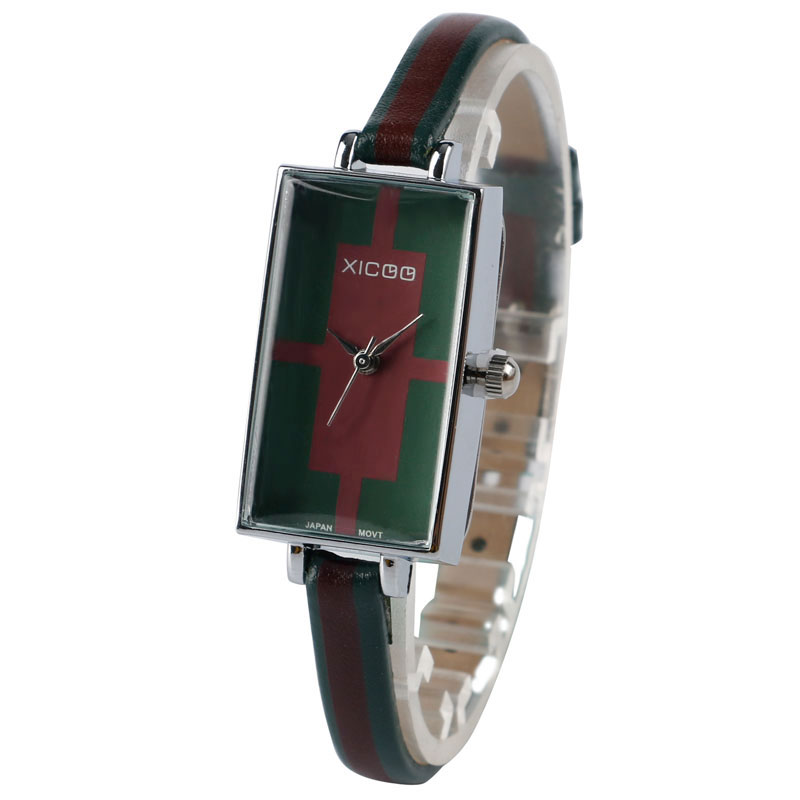 Special Minimalist Green and Red Slim Leather Rectangle Wrist Watch Quartz Analog Casual Dress Trendy Gift For Women Lady Girl<br>