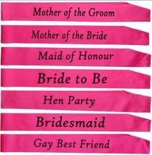 1 PCS cheap Pink bachelorette party accessories Hen Night Stain Sashes Hen Party and Bride to Be for bride party supplies