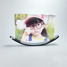 Simple Style Acrylic Photo Frame Picture Display Stand With Bending Moon Shaped Base PF030(China)