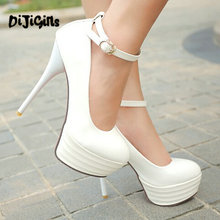 HOT Big size 34-44 2017 new sexy pu leather shoes women's pumps thick platform high heels wedding shoes
