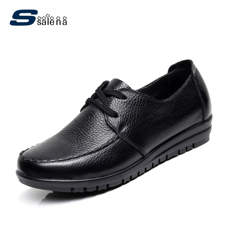Big size EU 43 women flats mother shoes breathable leather comfortable soft bottom lace up loafers #B2145<br>