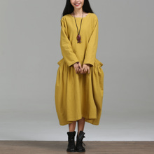 Fashion Preppy Yellow Large Pockets Opening Women Cotton Linen Large Hem Bud Dress, Spring Autumn New Cute Ladies Robe Dresses