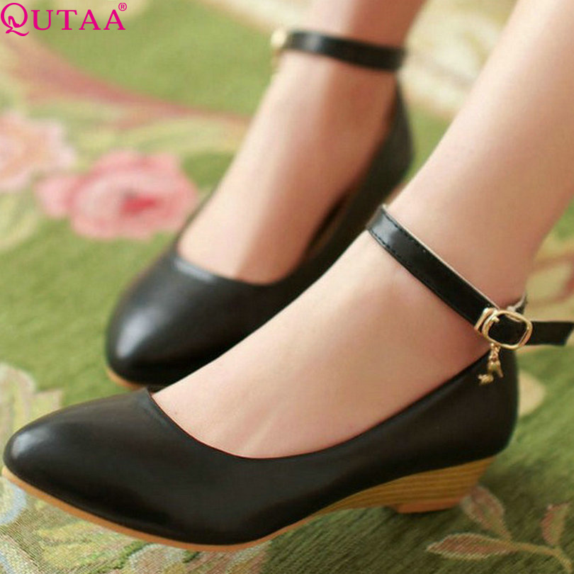 QUTAA Princess Style Spring PU Leather Platform Women Pumps Wedge Med Heel Shoes Ankle Strap Female Wedding Shoes Size 34-39<br><br>Aliexpress