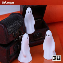 Halloween gifts LED Sound Ghost Keychain White spirit animal Key ring Key fob mini toy trinket pendant Fun present 10pcs/lot