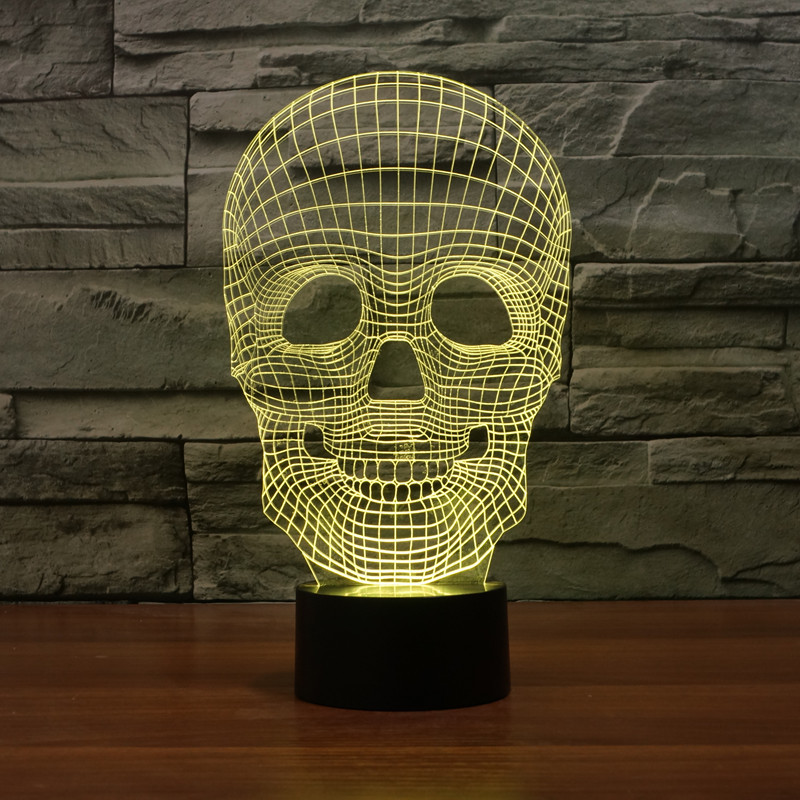 2017 New Night Lights Skull Shape 3D Vision Led Table Lamp USB DC5V Bedroom Decoration Novelty Gift Birthday Christmas Gifts<br><br>Aliexpress