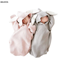 Milancel 2017 Baby Blankets Newborn Knitted Baby Covers Rabbit Ear Swaddling Baby Wrap Photography Bunny Style Swaddle Wrap(China)