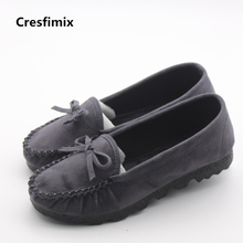 Cresfimix women cute flock grey flat shoes lady casual bow tie round toe flats female leisure soft summer shoes zapatos de mujer(China)