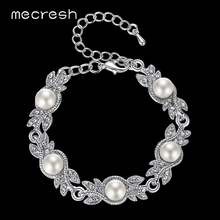 Mecresh Elegant Leaf Simulated Pearl Bracelets for Women Silver Color Crystal Wedding Jewelry Pulseras Mujer Femme MSL197