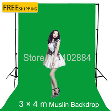 Free Tax To Russia NEW Photographic Equipment 3m x 4m Cotton Chromakey Green Screen Muslin Background Backdrop