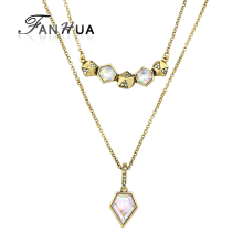 FANHUA Unique New Antique Gold-Color Multi Layer Chain Necklace Acrylic Geometric Pendant Necklace Fashion Bijoux For Women