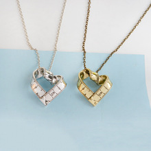 (6pcs/lot) Creative Gold Silver Plated Rotating Ruler Hollow Heart Pendant Clavicle Chain Necklace Special Gift For Women Men