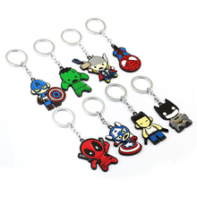 Julie 10Pcs/lot Spider Man Deadpool Batman Captain America Thor Hu-lk Model Alloy Keychain 8 Styles Key Chain Ring Holder