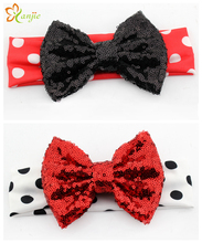 10pcs/lot Chic Lovely Girl Minnie Mouse Elastic Dot Infantile Headband DIY Hair Accessories For Kids 2016 New Headwear Turbante(China)