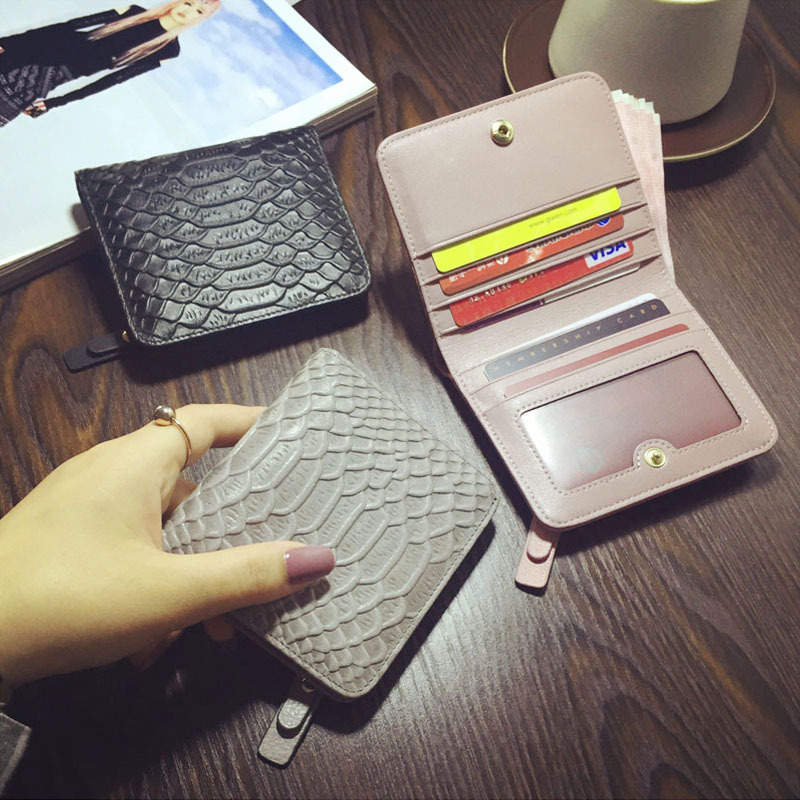 Fashion Snake Pattern Genuine Leather Women Short Wallets ID Card Holder Coin Purse Pockets Clutch Design Cowhide Female Wallet<br><br>Aliexpress