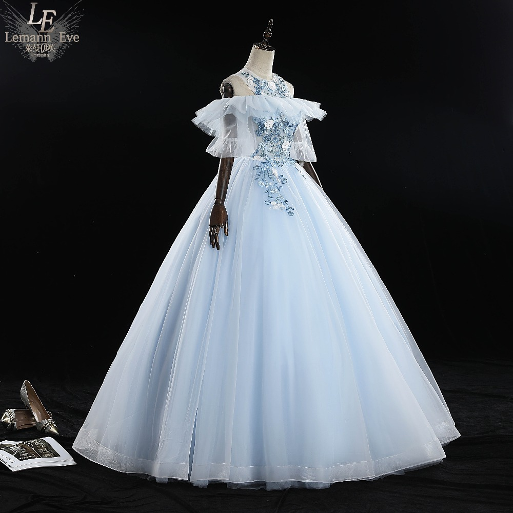 pale blue ruffle bubble sleeve embroidery rococo princess cosplay  medieval dress Renaissance gown queen Victoria Belle Ball